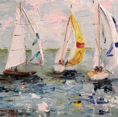 """SailBoat- SOLD"" - Original Fine Art for Sale - © Delilah Smith"