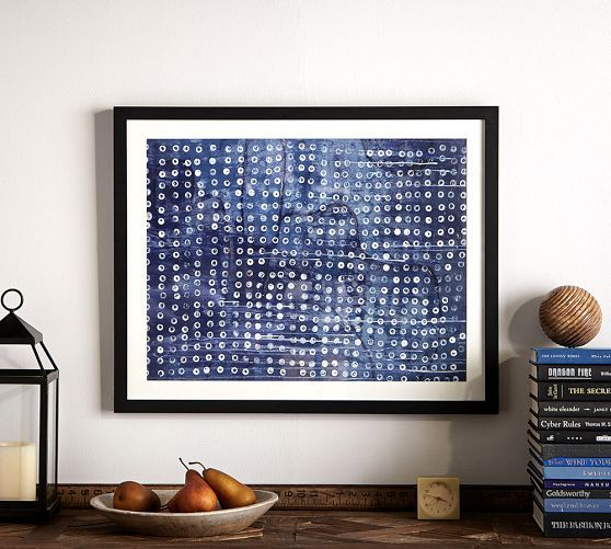 66 best blue print art images on pinterest fabrics frames and framed indigo dots abstract print pottery barn malvernweather Images