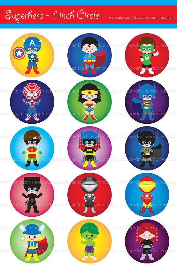 Superhero 1 Inch Circle On 4 X 6 PDF PNG Instant