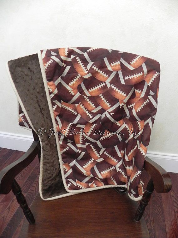 Baby Blanket  Football Print and Brown Minky by BabyBeddingbyJBD