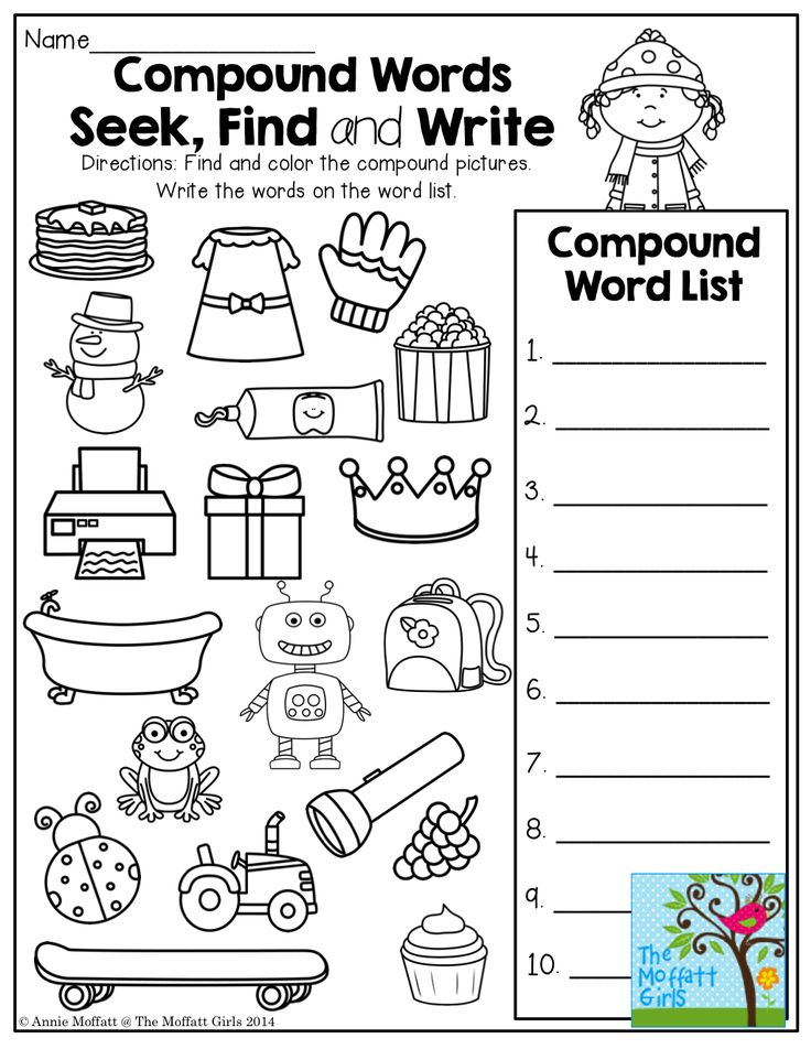 Compound Words…Seek, find, and write! TONS of fun, interactive and engaging printables!
