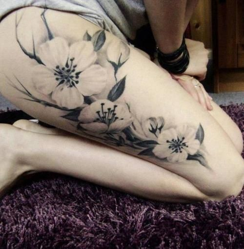thigh tattoos- trees   thigh tattoos   Tumblr - cute-tattoo.com