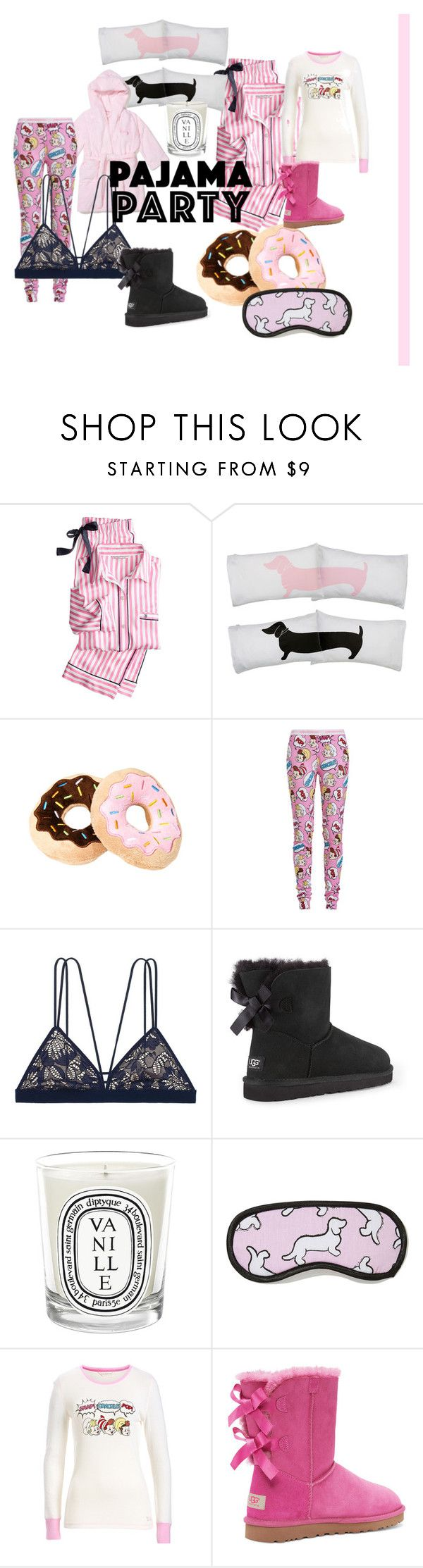 """""""Pajama Party"""" by eviejessup on Polyvore featuring Victoria's Secret, UGG Australia and Diptyque"""