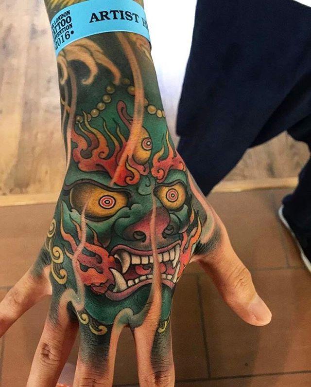Japanese hand tattoo by @zhanshan_tattoo.  #japaneseink #japanesetattoo #irezumi #tebori #colortattoo #colorfultattoo #cooltattoo #largetattoo #armtattoo #handtattoo #tattoosleeve #newschool #newschooltattoo #wavetattoo #naturetattoo