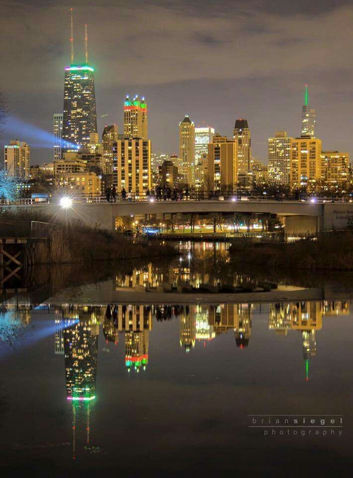 Christmas In Chicago Skyline.Chicago S Skyline From Lincoln Park Zoo Photo Credit Brian