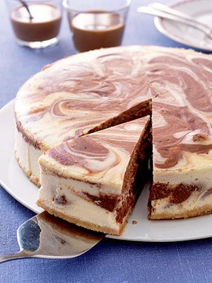 With its lovely swirls of chocolate, this cheesecake makes an eye-catching dessert. Made with semisweet chocolate, it scores high on the rich and luscious scale too.