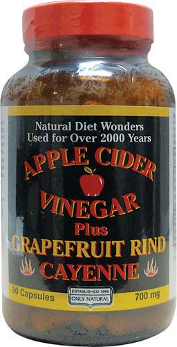 Only Natural Apple Cider Vinegar Plus Grapefruit Rind, Cayenne......  *Great diet aid *Promotes energy & vitality* Benefits digestion.  A unique formula dedicated to helping you reach your weight goals. This combination will promote energy and vitality and can also improve digestion. Each capsule contains 500 mg of apple cider vinegar, 100 mg of cayenne pepper and 100 mg of grapefruit rind.