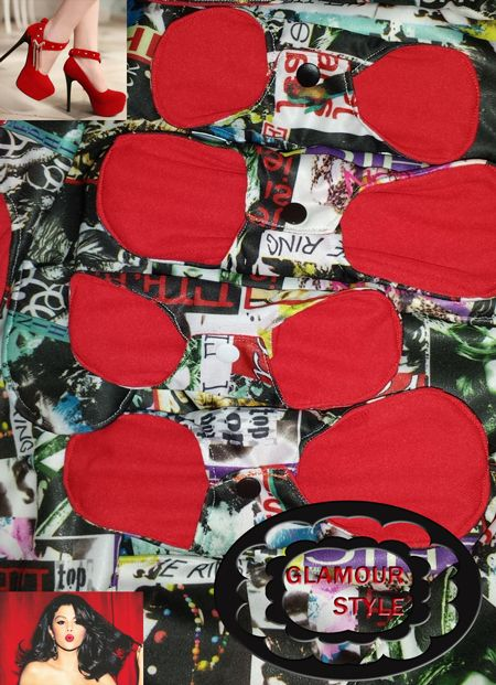 """Teppolini Cloth pads. """"Glamour"""". Red is life! Red style! https://www.coppetta-mestruale.it/assorbenti_lavabili.php"""