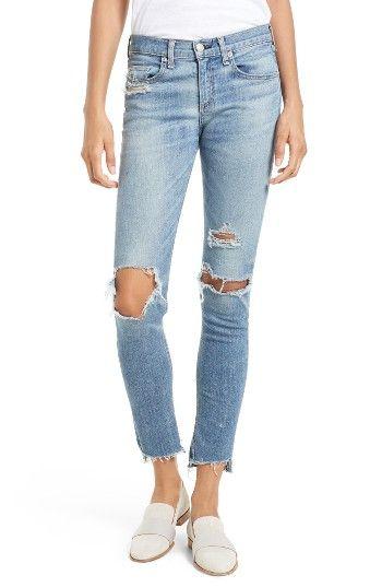 rag & bone/JEAN Ripped Step Hem Skinny Jeans (Commodore) | Nordstrom - Nordstrom