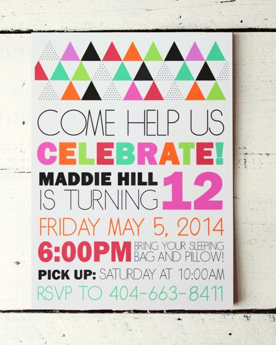 Custom Girls Birthday Invitation Modern Colorful Sleepover Slumber Party Geometric Invite Girl Birthday Party Invitation Kids Personalized