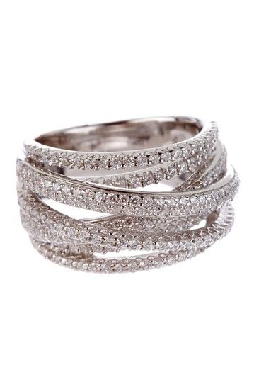 Sterling Silver CZ Overlapping Step Ring