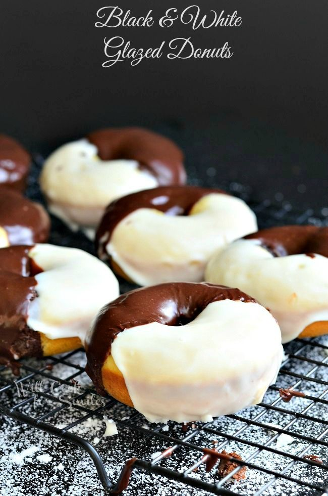 Black & White Glazed Donuts! These are baked donuts, inspired by the ever-so-delicious black and white cookies. Donuts that are half chocolate and half vanilla topped with chocolate glaze and vanilla glaze.   from willcookforsmiles.com