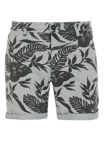 Grey Leaf Pattern Shorts - Sale