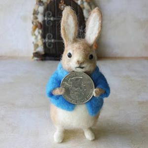 OOAK needle felted Peter Rabbit with handcrafted leather satchel Felted wool rabbit Felted bunny