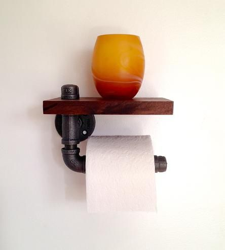 Reclaimed Wood & Pipe Toilet Paper Holder | Your toilet paper never looked so good. Reclaimed black walnut... | Toilet & Bidet Accessories