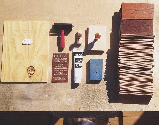 DIY: wooden wedding invitations