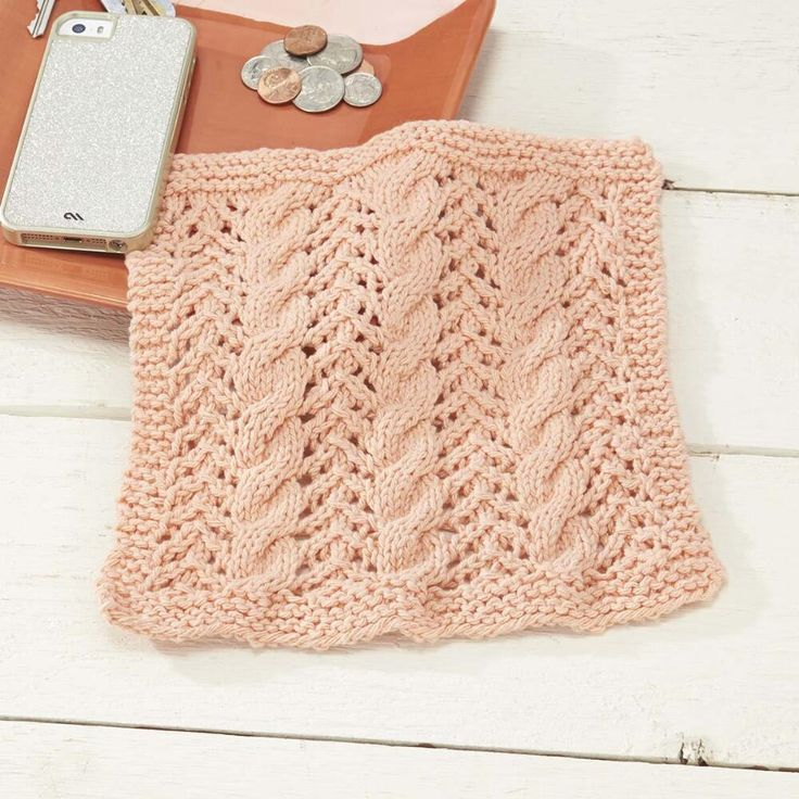 Cables and Lace Dishcloth Free Knitting Pattern Knitted ...