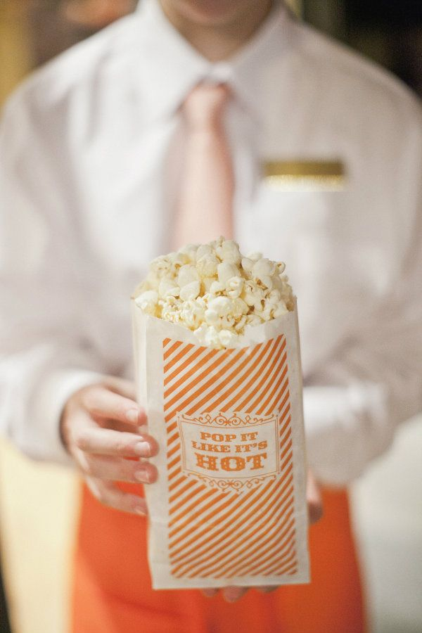 """""""pop it like it's hot"""" branded popcorn bags for wedding after party"""
