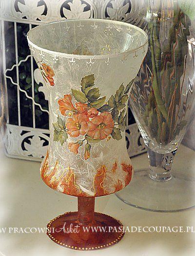 decoupage em vidro - vaso - lanterna