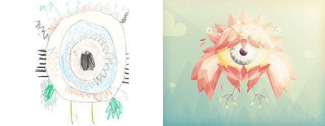 """Mais de 100 Artistas Redesenham Desenhos de Crianças de """"Monstros Assustadores"""" em seu próprio estilo"""