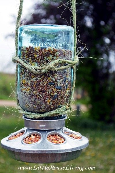 Mason Jar Bird Feeder - How Cute!! Easy - Inexpensive!!