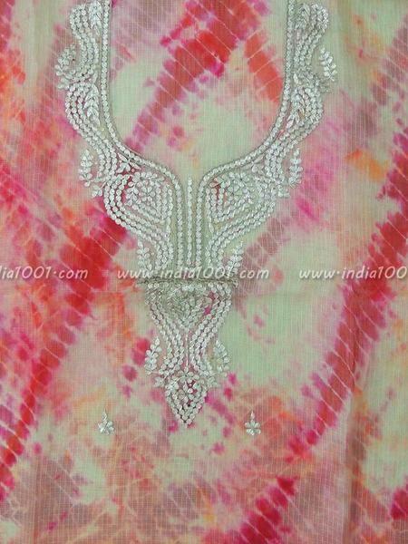 Kota Silk Kurta Fabric with Shibori Dyeing & Hand done Gota Patti Work
