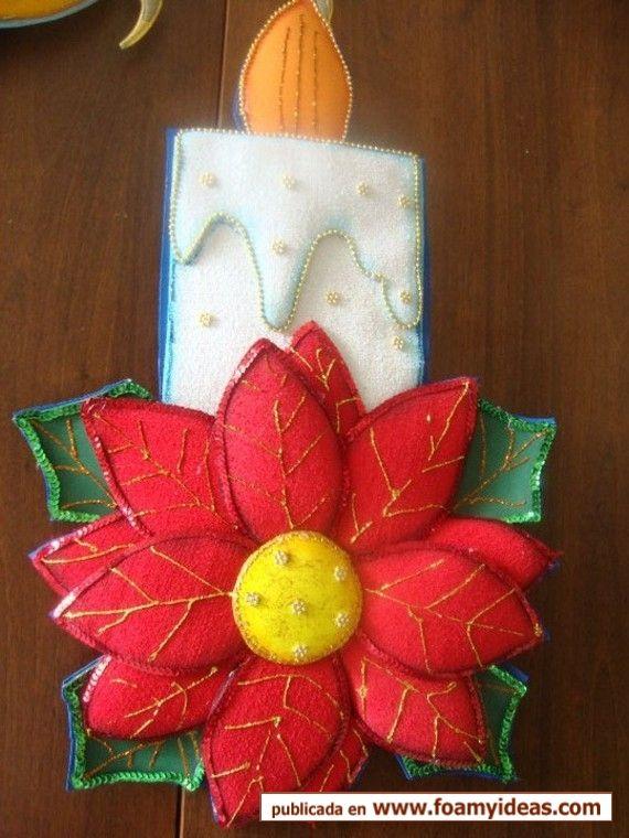 Vela en foamy fomi pinterest navidad manualidades for Navidad adornos manualidades navidenas