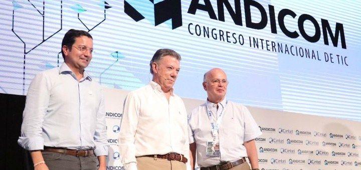 El Presidente Juan Manuel Santos en Andicom 2017. Imagen: Mintic