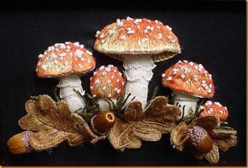 stumpwork embroidery mushrooms - Поиск в Google