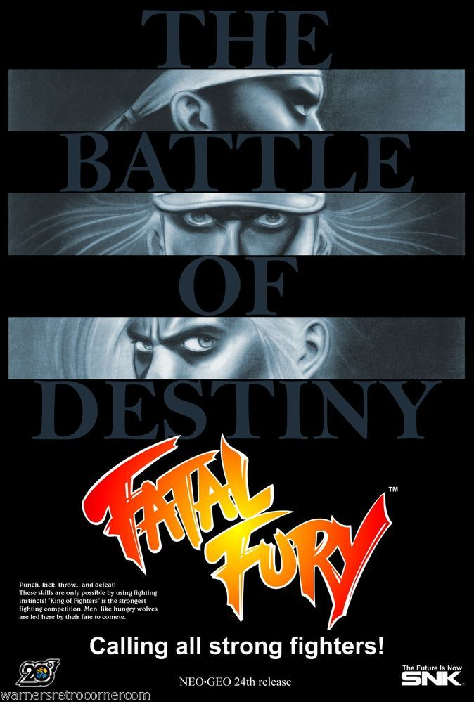 A3 retro Reproduction Video Game Neo geo Replica PRINT Poster Fatal Fury