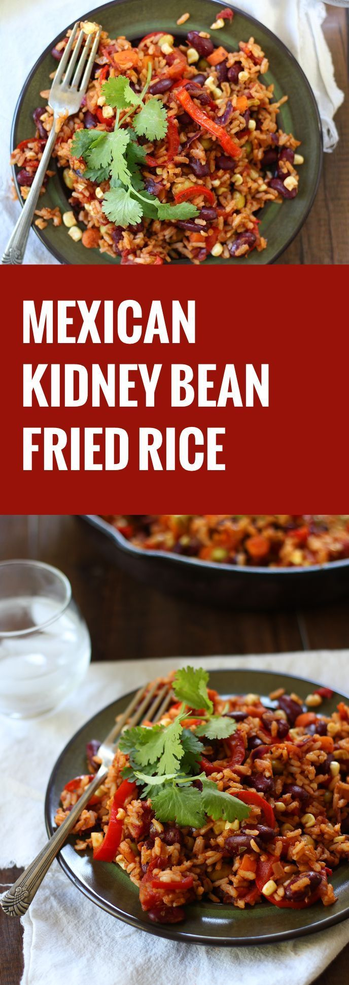 Asian-Mexican fusion food at it's best! This Mexican kidney bean fried rice from The Easy Vegan Cookbook is easy, delicious and packed with veggie goodness.