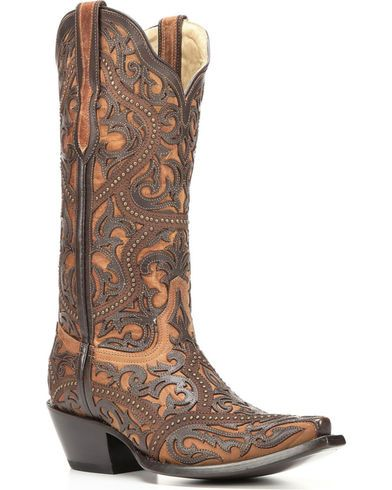 Corral Women's Brown Full Overlay Boots - Snip Toe  - Country Outfitter