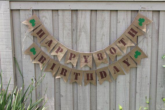 John Deere custom age burlap birthday banner by ButtonstoBurlap