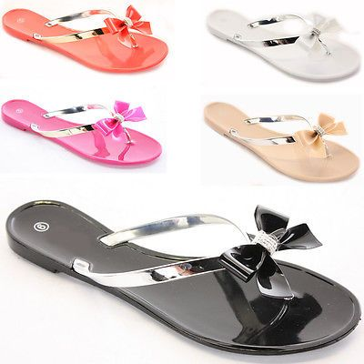 Ladies Womens Toe Post Flat Diamante Flip Flops Summer Jelly Shoes Sandals Size