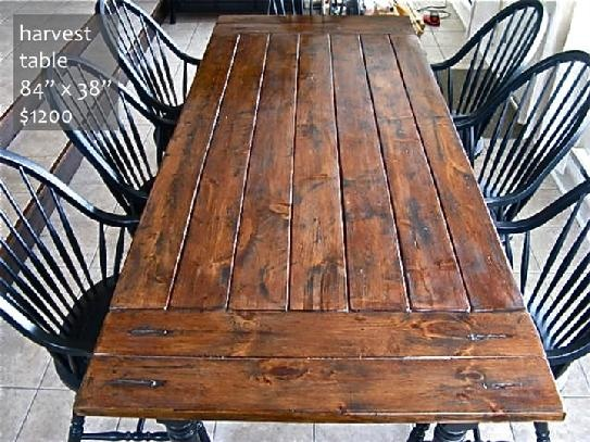 Rustic, Distressed, Harvest Table, And Chairs.I Like The Black And Brown  Mix, But I Would Add Upholstered Chairs On The Ends To Dress It Up A Bit.
