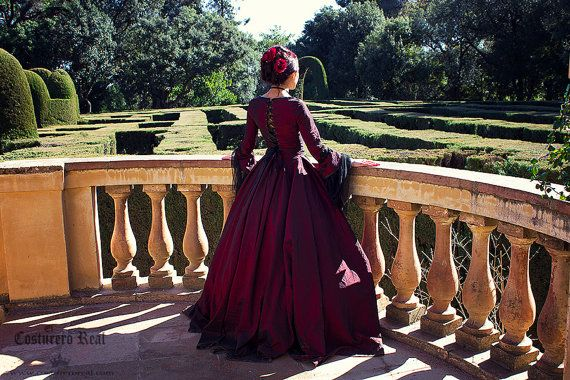 marie antoniette gothic dress gown in dark red by CostureroReal, €765.00