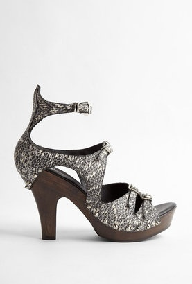 ShopStyle: McQ Alexander McQueen Snake Print Leather Clog With Wooden Heel