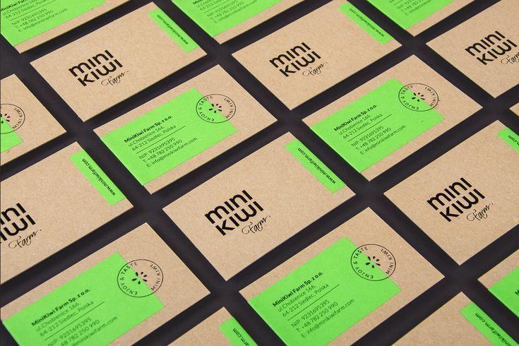 Kraft business cards mini kiwi farm black and green foil