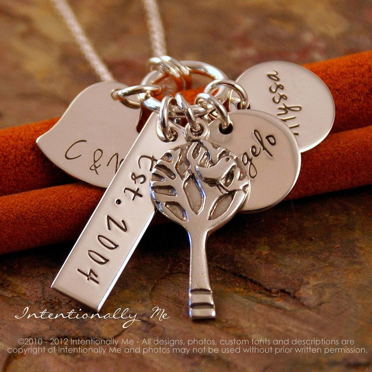 Personalized Mommy Jewelry - Hand Stamped Jewerly - Sterling Silver Necklace - My Love Story (with kids names). via Etsy.