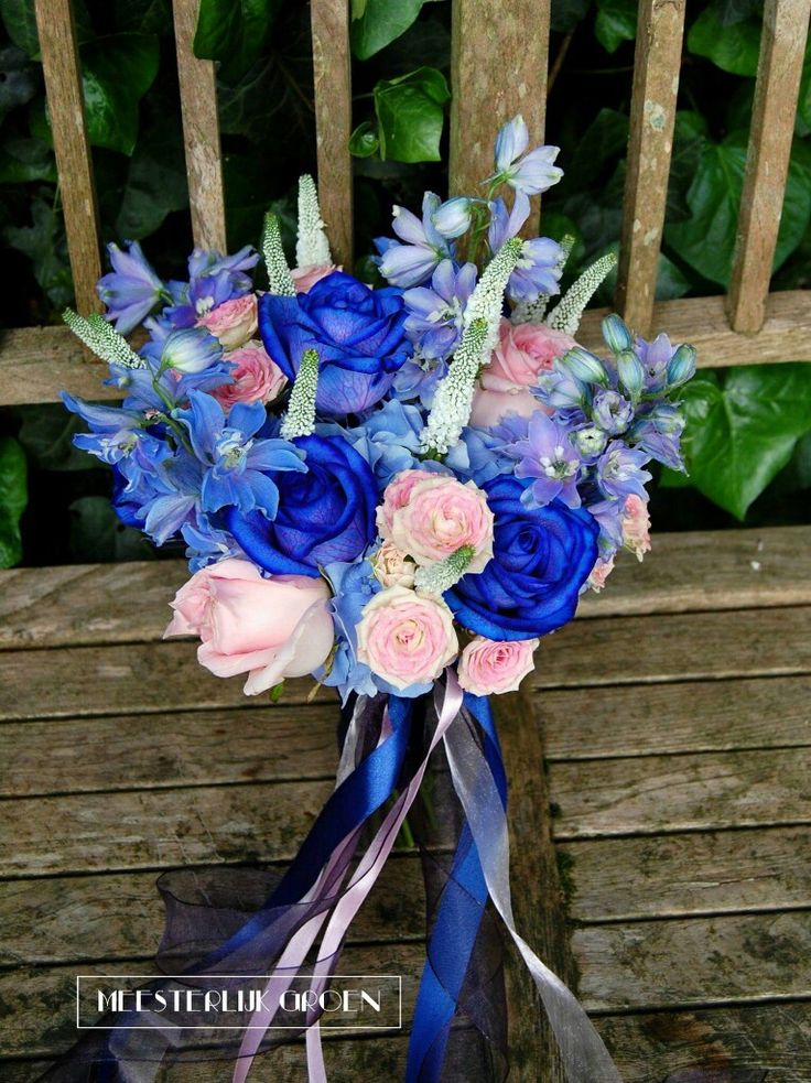 my wedding flowers  blue and pink roses