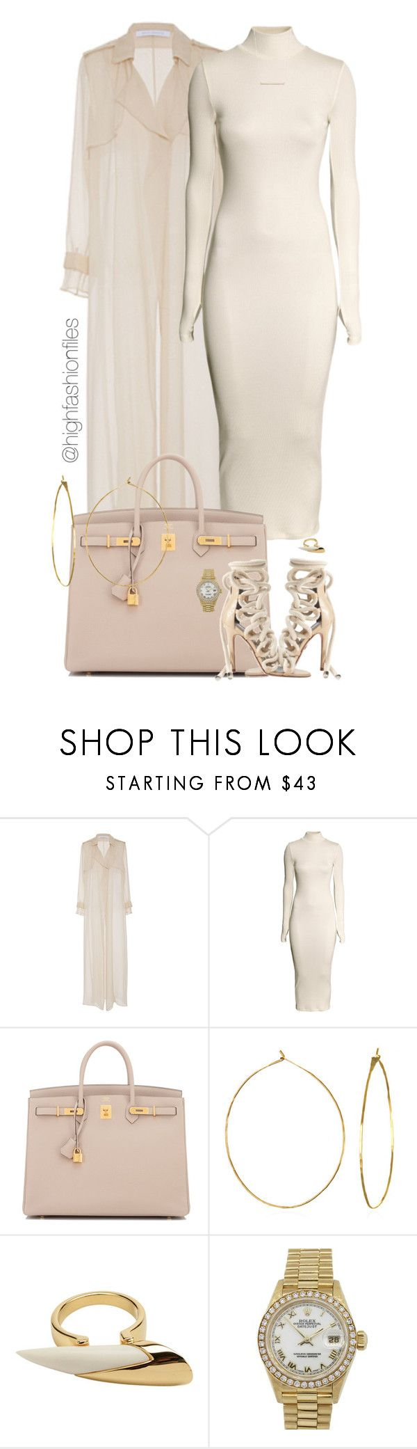 """""""Untitled #2769"""" by highfashionfiles ❤ liked on Polyvore featuring Sally Lapointe, H&M, Hermès, Phyllis + Rosie, Maiyet, Rolex and Sydney Evan"""
