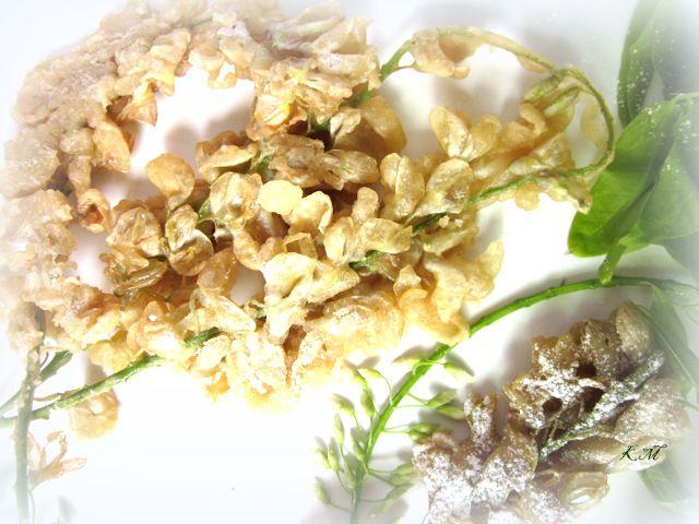 Polish Racuchy (pancakes) with acacia flowers
