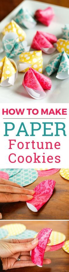 How To Make Paper Fortune Cookies -- Pinned over 108,000 times! These cute DIY paper fortune cookies are super easy to make! Not just for Chinese New Year, they're great for Valentine's Day, wedding favors, birthday parties, and much more...   via /unsophisticook/ on http://unsophisticook.com ~ Chinese New Year crafts for kids   Chinese New Year party   Chinese New Year decorations