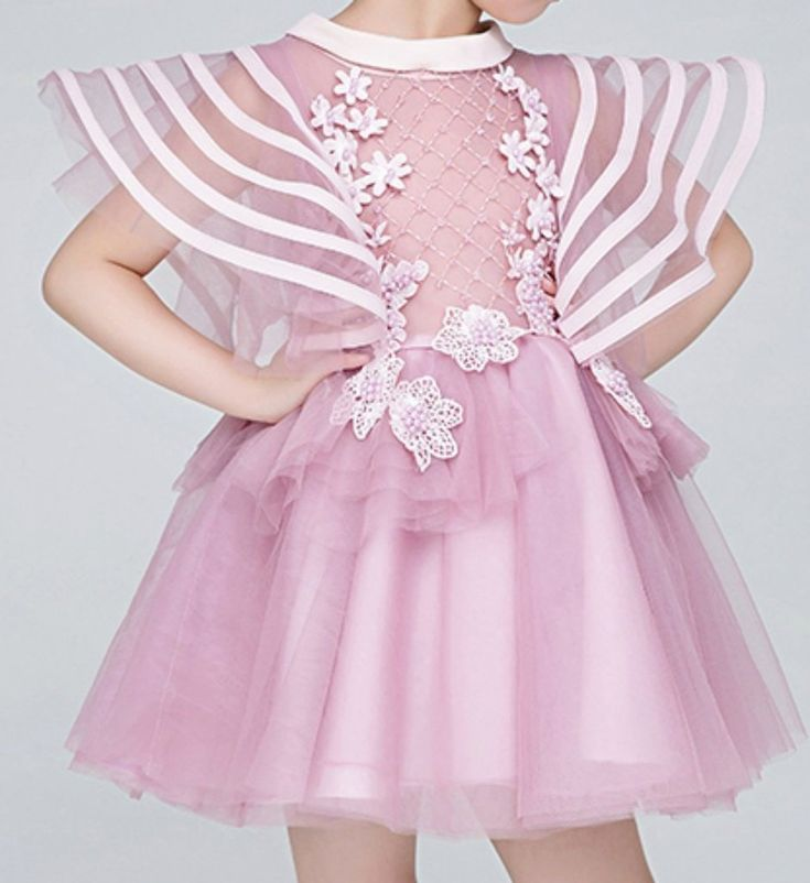 Ribbon Trimmed Bell Sleeve Dress-Light Pink Embroidery Flower Applique Round Neckline Pageant Prom Princess Junior Bridesmaid Ribbon Trimmed Bell Sleeve Dress Perfect for Birthday, Wedding or any special day. Available from 1 until 12 years old  Material: Organza, cotton, tulle mesh Please do compare your  little girl measurements with our size chart below before deciding her size
