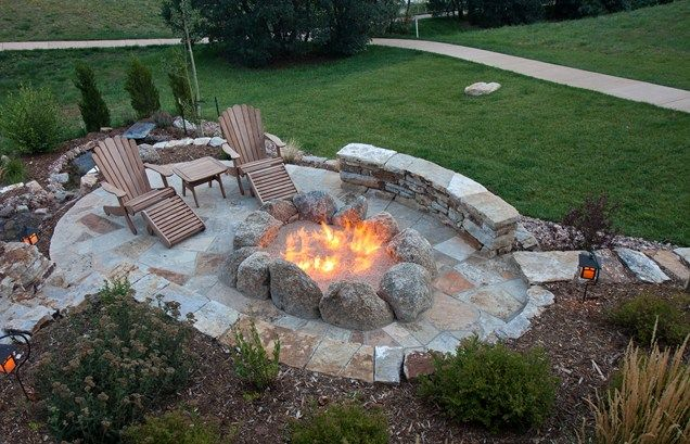 natural boulder fire pit gas ring fire pit landscaping network calimesa ca patio pinterest. Black Bedroom Furniture Sets. Home Design Ideas