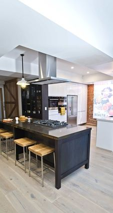 Kitchen by The Block contestants Chantelle and Steve featuring Silestone Lagoon and Dinux.