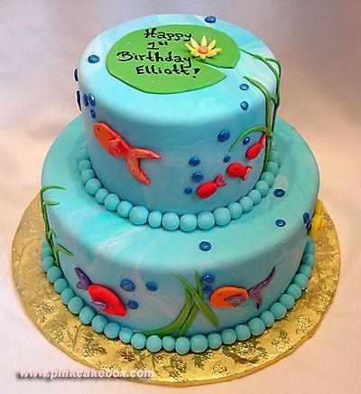 Fish bowl 1st birthday cake celebration cakes toddler for Fishing themed birthday cakes
