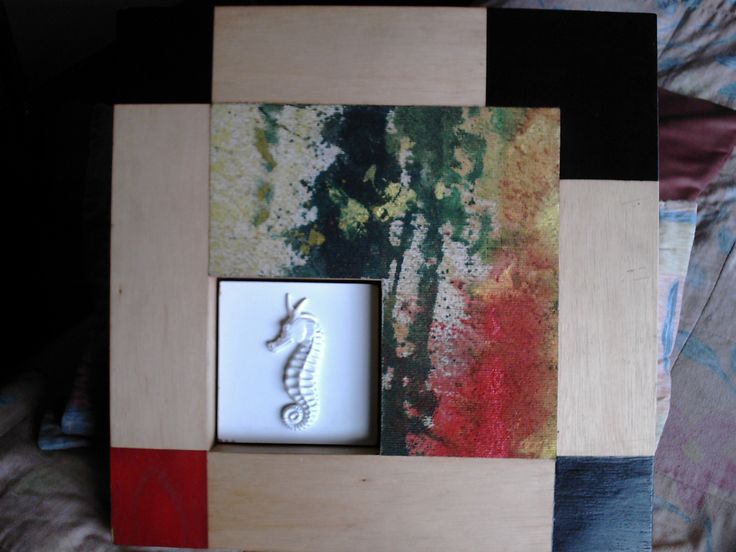 Obra a dos manos Carlos Salas Nadin Ospina oleo sobre lienzo y cerámica 70 x 70 centìmetros