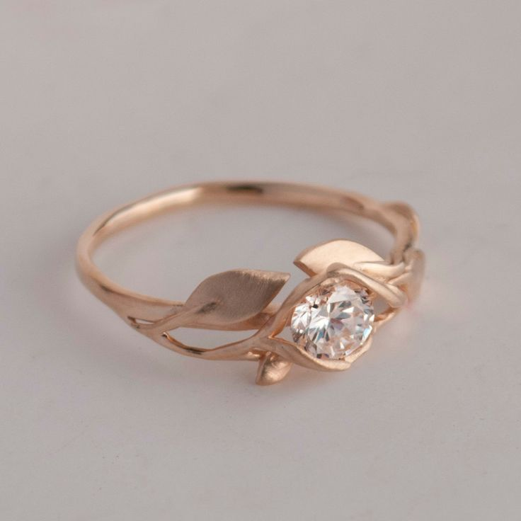 Trending Leaves Engagement Ring No K Rose Gold and by doronmerav