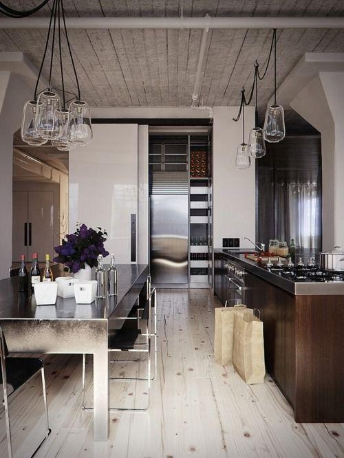 Kitchen table, units & lights